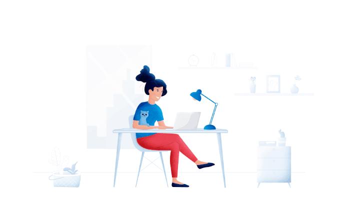 Visma eAccounting illustraasjon av dame som sitter og jobber på laptop